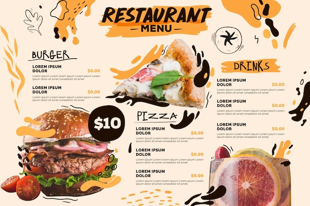 Digital restaurant menu horizontal format template with burger and pizza