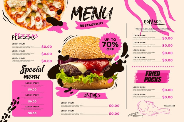 Digital restaurant menu horizontal format template with pizza and burger