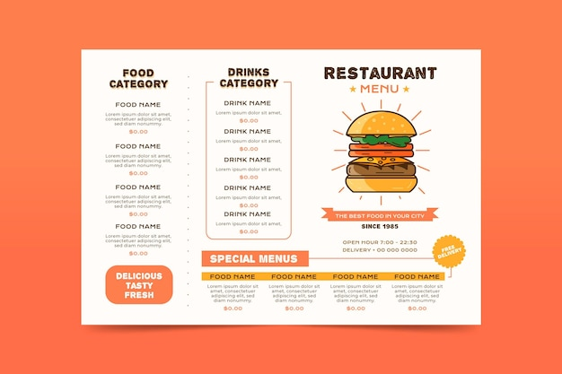 Digital restaurant menu in horizontal format with burger