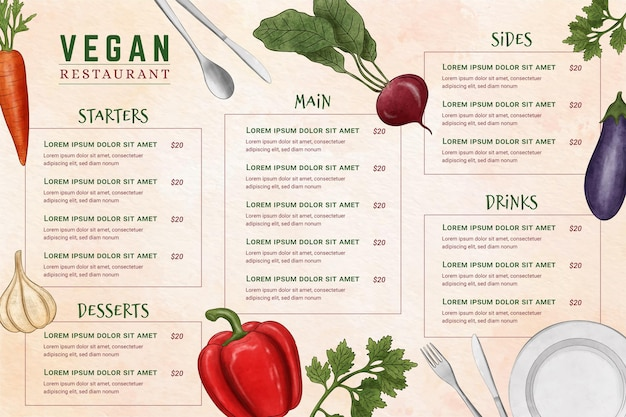 Menu del ristorante digitale in formato orizzontale con illustrazione di ingredienti