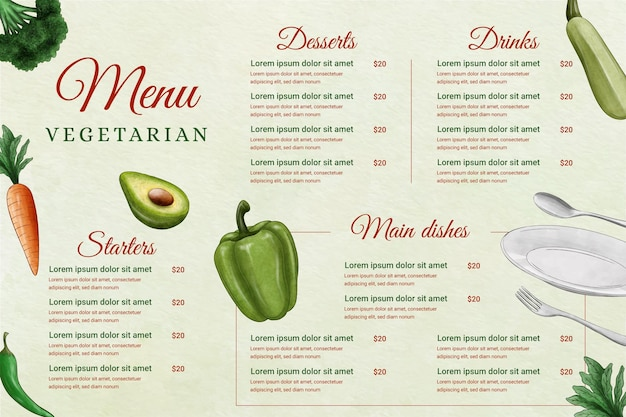 Digital restaurant menu in horizontal format with ingredients