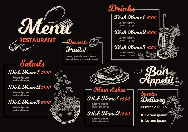 Digital restaurant menu in horizontal format