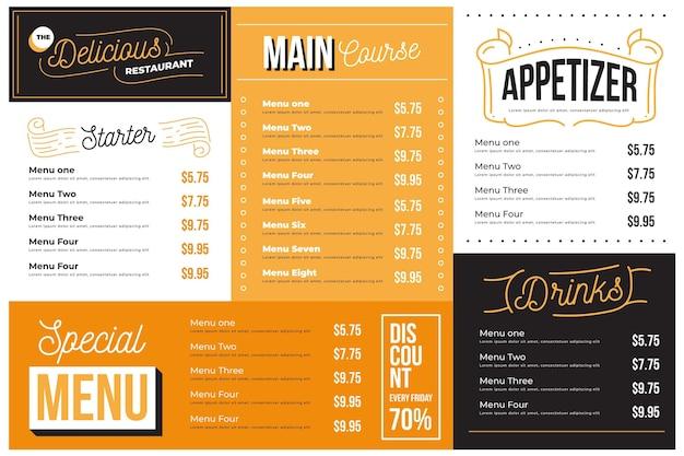 Digital restaurant menu in horizontal format