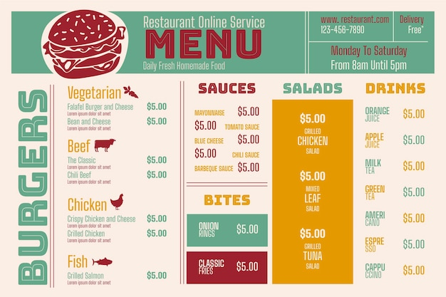 Digital restaurant menu horizontal format