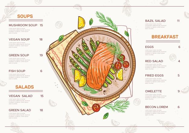 Горизонтальный формат цифрового меню ресторана