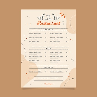 Digital restaurant menu template design