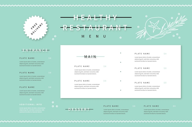 Digital restaurant menu template in horizontal format with illustrations