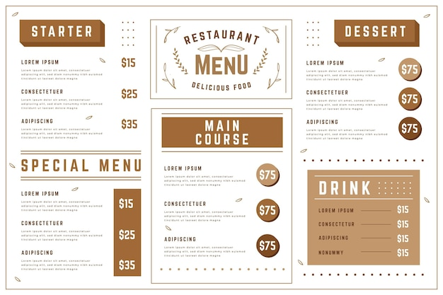 Digital restaurant menu template in horizontal format
