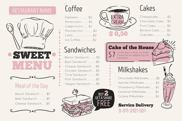 Digital restaurant menu template in horizontal format