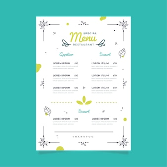 Digital restaurant menu template style