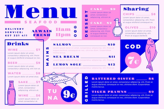 Digital restaurant menu template with delicious meals in horizontal format