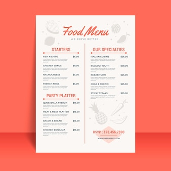 Digital restaurant menu template with illustrations