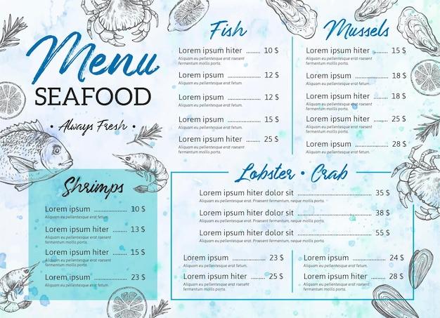 Modello di menu del ristorante digitale