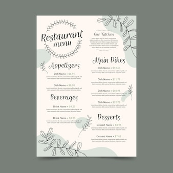 Digital restaurant menu vertical format template with leaves