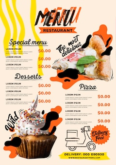 Digital restaurant menu vertical format template with pizza and cupcake
