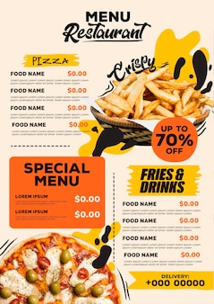Digital restaurant menu vertical format template with pizza and fries