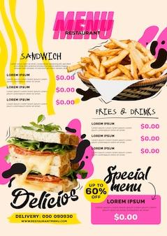 Шаблон вертикального формата цифрового меню ресторана с бутербродом и картофелем фри