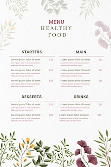 Digital restaurant menu in vertical format with flowers
