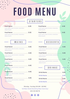 Digital restaurant menu vertical format