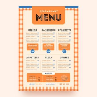 Digital restaurant menu in vertical format