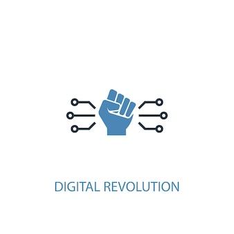 Концепция цифровой революции 2 цветной значок. простой синий элемент иллюстрации. дизайн символа концепции цифровой революции. может использоваться для веб- и мобильных ui / ux