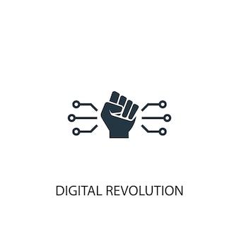 Значок цифровой революции. простая иллюстрация элемента. дизайн символа концепции цифровой революции. может использоваться в интернете и на мобильных устройствах.