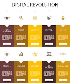 デジタル革命インフォグラフィック10オプションuidesign.internet、ブロックチェーン、イノベーション、インダストリー4.0シンプルアイコン