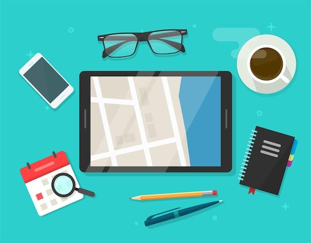 Digital road map navigator in city street tablet computer screen table desk