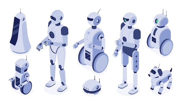 Digital robotic machines, futuristic android development and 3d robot character.