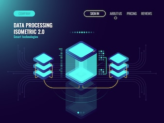 Digital science concept, server room, cloud storage, data exchange, computer memory