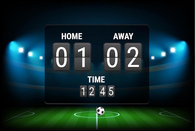 Digital scoreboard with stadium background.