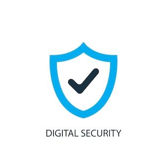 Значок цифровой безопасности. иллюстрация элемента логотипа. дизайн символа цифровой безопасности из 2-х цветной коллекции. простая концепция цифровой безопасности. может использоваться в интернете и на мобильных устройствах.