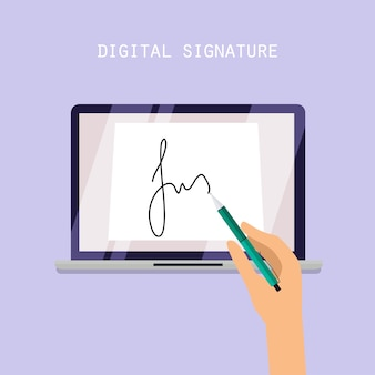 Digital signature concept. online contract on screen.   illustration.