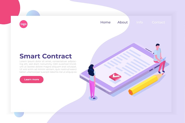 Digital signature electronic smart contract landingpage