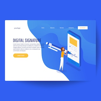 Digital signature. flat 3d web isometric contract signature infographic concept
