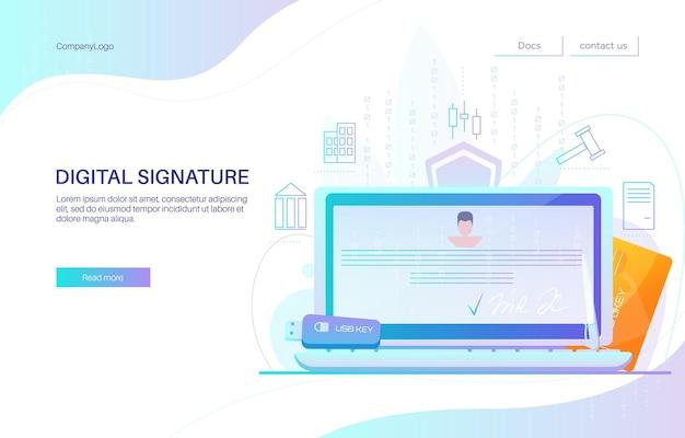 디지털 서명 방문 페이지 디자인, 웹사이트 배너 템플릿, 평면 벡터 일러스트 레이 션. 노트북 컴퓨터 화면에 전자 문서입니다. 스마트 카드 및 usb 키 토큰.