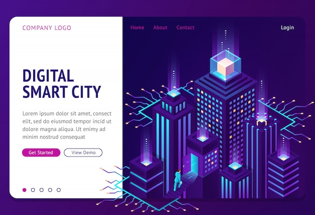 Digital smart city isometric landing page banner