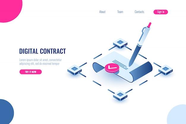 Contratto intelligente digitale, concetto di icona isometrica di firma elettronica, tecnologia blockchain