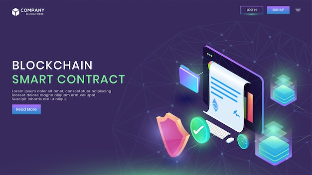 Digital smart contract landing page design.