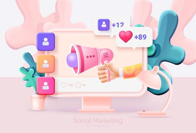 디지털 소셜 마케팅 컴퓨터 및 소셜 네트워크 인터페이스가 있는 휴대 전화 손은 확성기를 보유하고 있습니다. 새로운 가입자를 얻는 것은 메시지를 좋아합니다. 소셜 네트워크 프로모션 벡터 일러스트 3d