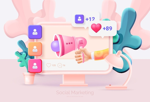 Digital social marketing computer and mobile phone with social network interface hand holds a megaphone getting new subscribers likes messages social network promotion vector illustration 3d