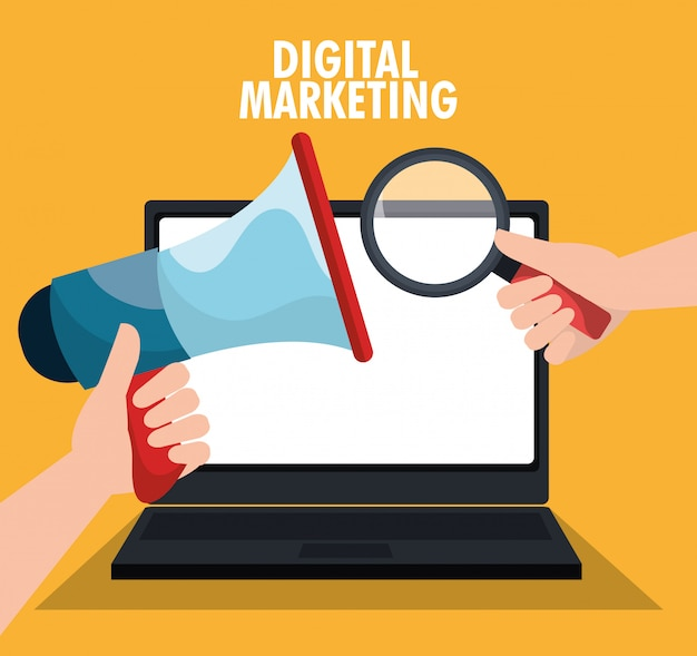 Digital and social marketing graphics.