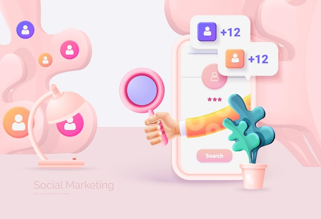 디지털 소셜 마케팅 소셜 네트워크 인터페이스가 있는 휴대 전화 손은 돋보기를 들고 대상 고객의 검색 및 연구 소셜 네트워크 프로모션 벡터 그림 3d 스타일