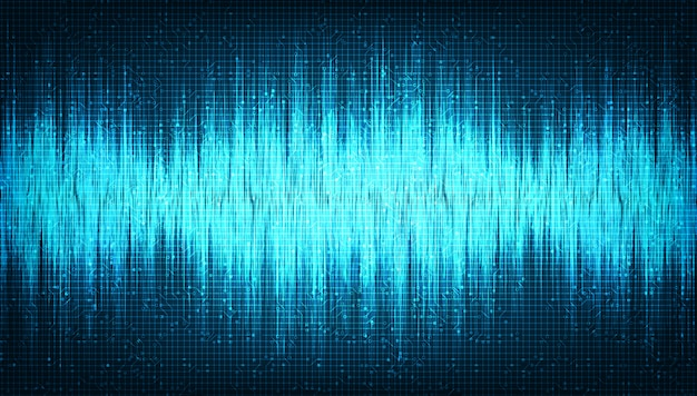 Digital sound wave low and hight richter scale on light blue background