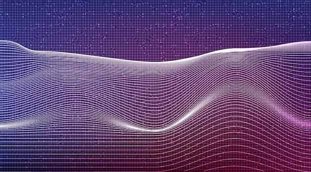 동적 기술 배경에 디지털 음파