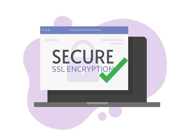 Цифровой ssl безопасное шифрование онлайн плоский мультфильм.