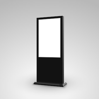デジタルスタンドサイネージ広告バナーライトボックス。空白の孤立したモックアップ看板マーケティング
