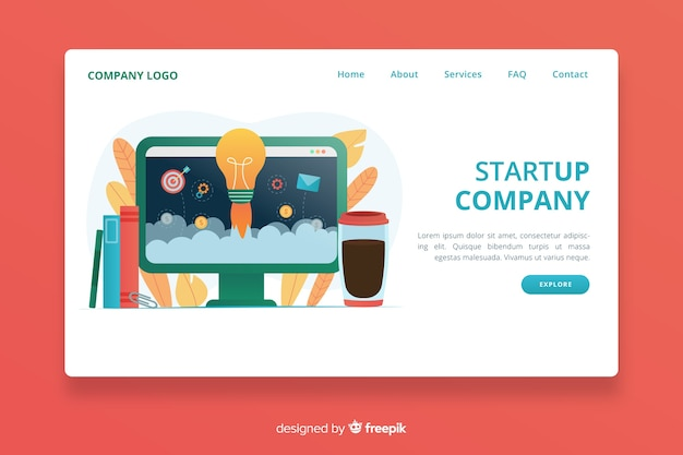 Digital start up landing page design