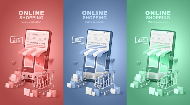 Digital stores delivery. smartphone with shopping cart.