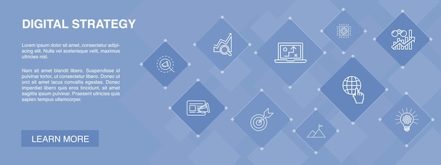 Digital strategy banner 10 icons concept.internet, seo, content marketing, mission simple icons